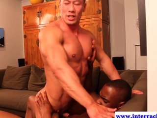 Muscled Black Dude Drilling Asian Dude