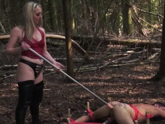 Femdom Milf Assfucks Sub With Dildo Outdoors