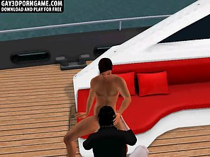 Horny 3D Cartoon Hunk Getting Fucked Hard On A Boat