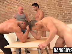 Muscular Hunks Horny And Naked Compete In Arm Wrestling