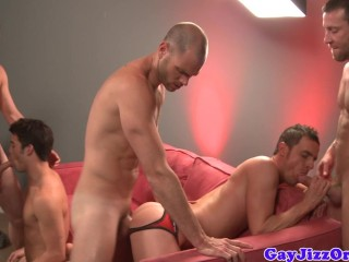 Group Of Jocks Enjoying Blowbang