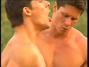 Muscled Studs Have Hot Threesome Outside