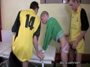 Soccer Twinks Locker Room Threesome