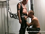 Hot Mature Leather Daddies Fucking In The Sling