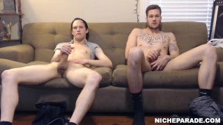 NICHE PARADE – Hidden Camera: Two Straight Guys Jerking Off On Couch